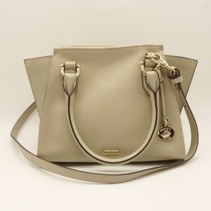 NWT BRAHMIN Mini Priscilla Satchel Beige Leather